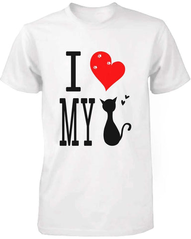 Image of Funny Graphic Statement Womens White T-shirt - I Love My Cat