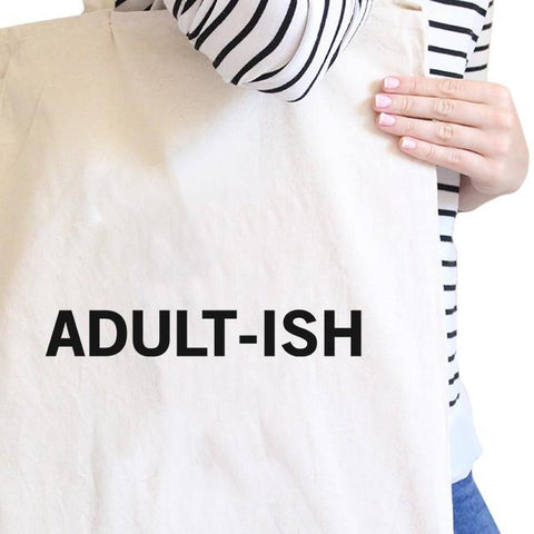 Adult-ish Natural Canvas Bag Trendy Varsity Bag For College Student