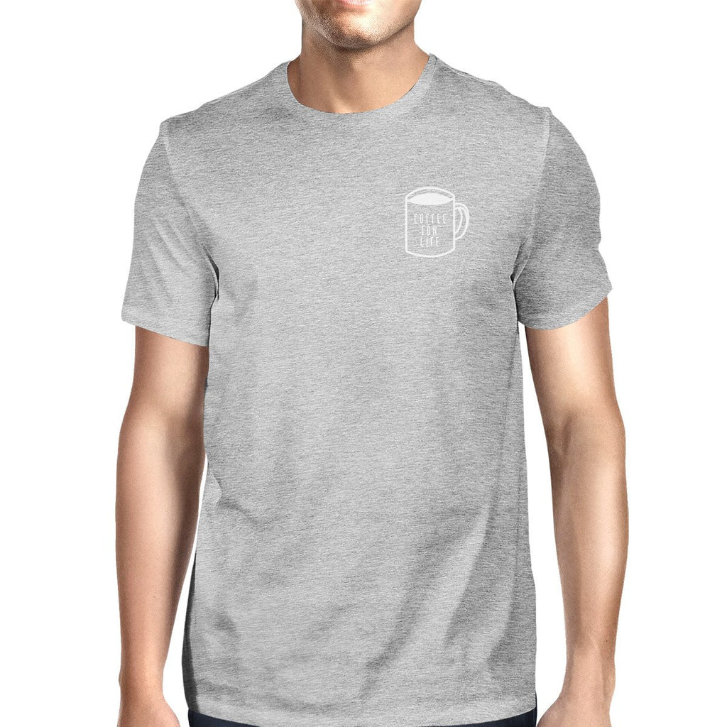 Coffee For Life Pocket Man's Heather Grey Top Typographic Tee