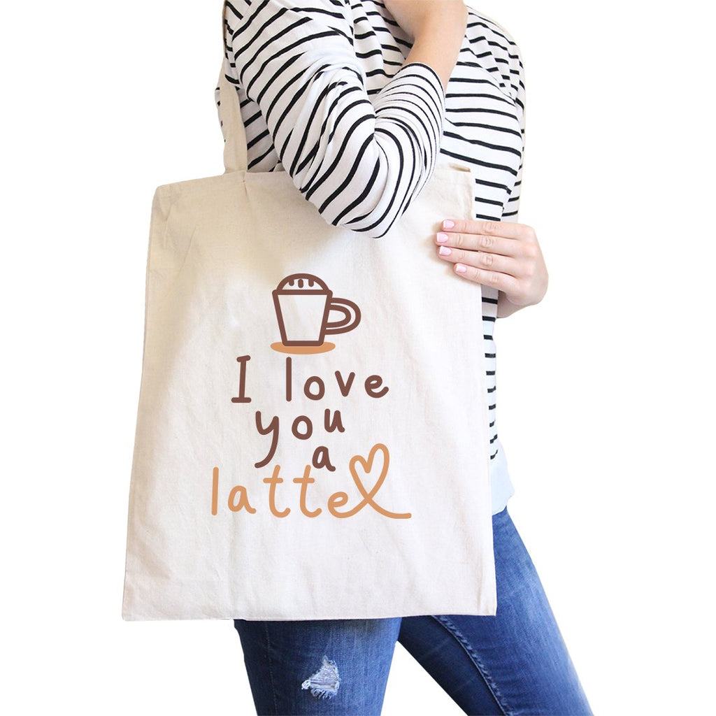 Love A Latte Canvas Shoulder Bag Cute School Tote Coffee Lover Gift