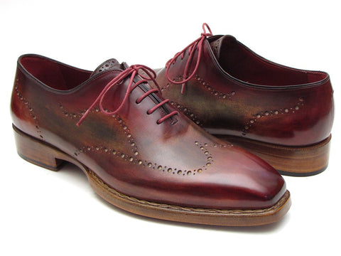 Image of Paul Parkman Men's Wingtip Oxford Goodyear Welted Bordeaux & Camel (ID#087LX)