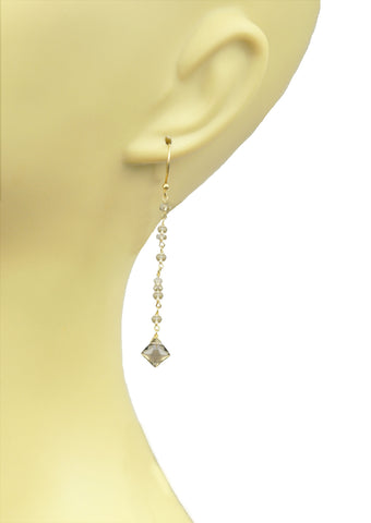 Smoky Topaz Linear Vermeil Earrings