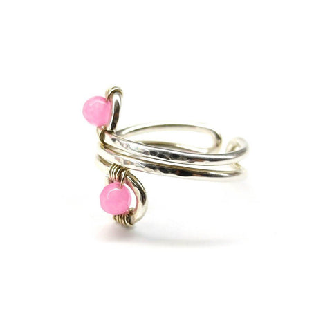 Wire wrapped Sterling Silver Pink Jade Adjustable Finger Toe Ring