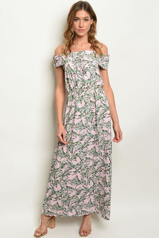 Pink W/ Leaves Print Dress