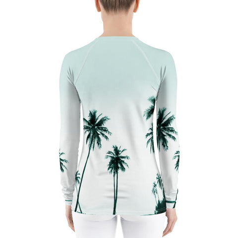Image of Women's Palm Tree Performance Rash Guard UPF 40+