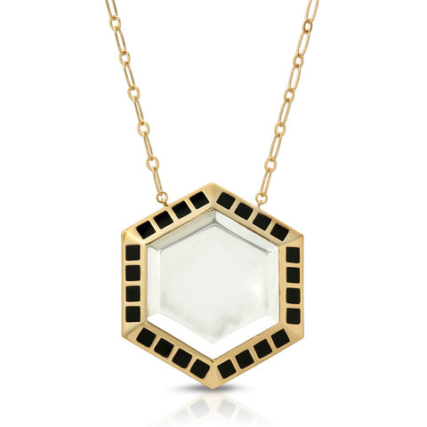 Image of Isis Gold Black Onyx - Magnifier Pendant Necklace