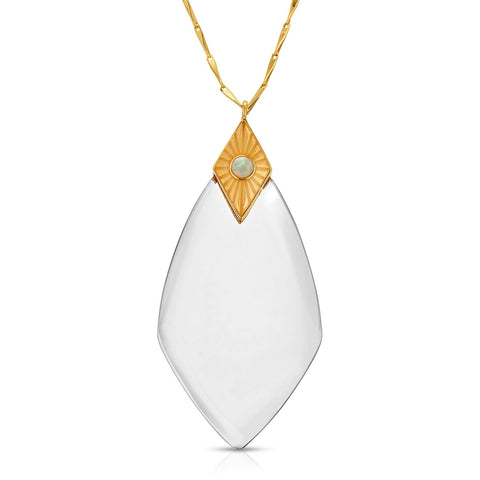 Image of Maya Gold White Opal - Magnifier Pendant Necklace