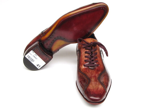 Image of Paul Parkman Handmade Lace-Up Casual Shoes For Men Brown  (ID#84654-BRW)