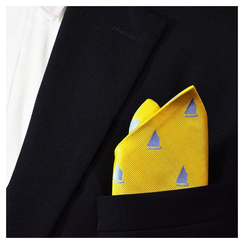 Sailboat Pocket Square - Yellow, Woven Silk