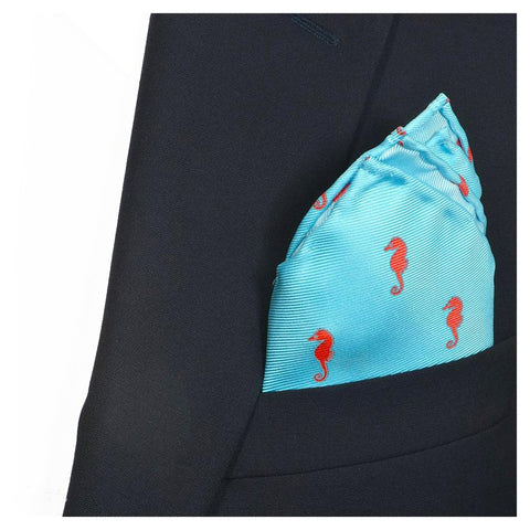 Image of Seahorse Pocket Square - Blue