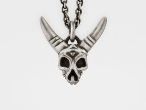 Horned Skull Pendant with Hinged Jaw in Sterling Silver