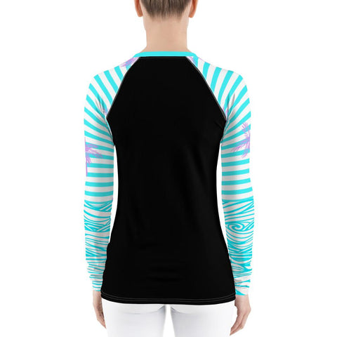 Image of Women's Reels and Reefs Striped Sea Skinz Performance Rash Guard UPF 40+
