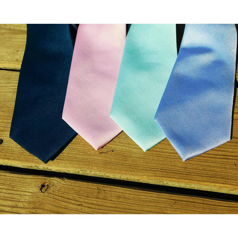 Image of Solid Color Necktie - Pink, Woven Silk