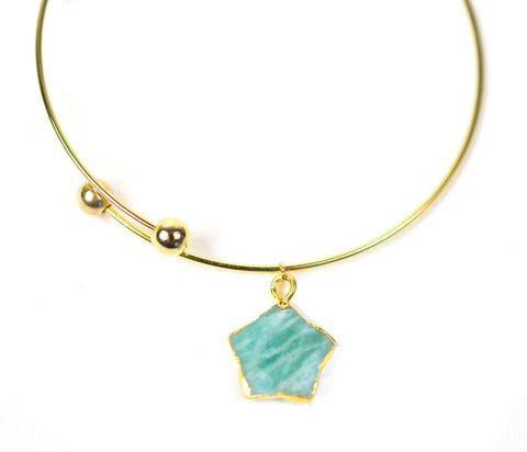 Amazonite Star Adjustable Bangle Bracelet