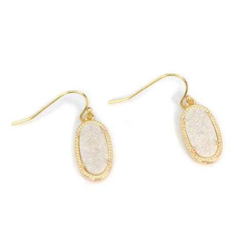 Image of Alicia Oval Druzy Earrings in Gold