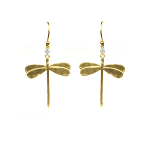 Dragonfly White Topaz Earrings