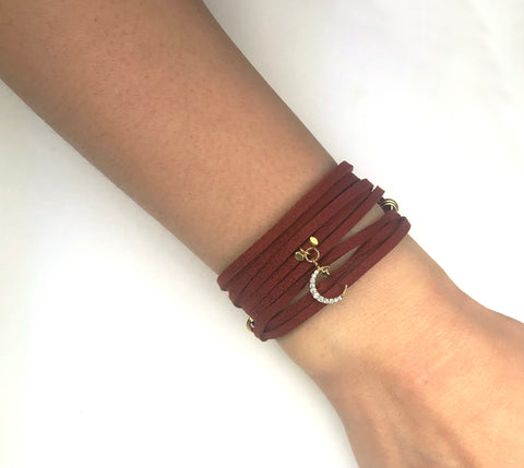Starry Moon Burgundy Suede Wrap Bracelet