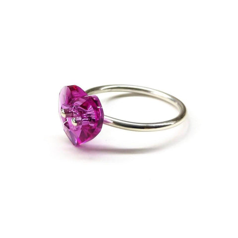 Hot Pink Sterling Silver Swarovski Crystal Heart Bling Ring