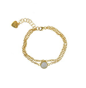 Moonstone Vermeil Double Chain Bracelet