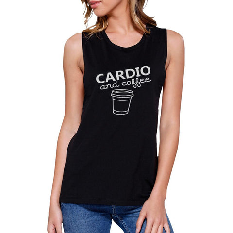Image of Cardio and Coffee Work Out Muscle Tee Cute Gym Sleeveless Tank Top