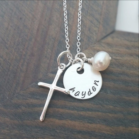 Personalized Sterling Silver Cross Necklace