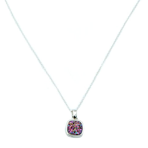 Christy Square Druzy Necklace in Silver