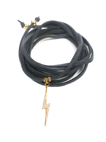 Lightning Bolt Grey Suede Wrap Bracelet