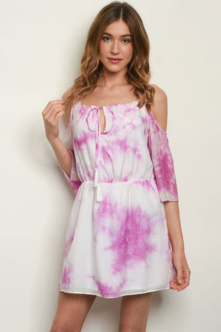 Off White Magenta Tie Dye Dress