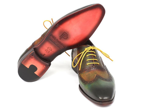 Image of Paul Parkman Men's Wintip Oxfords Green Handpainted Calfskin (ID#228-GRN)