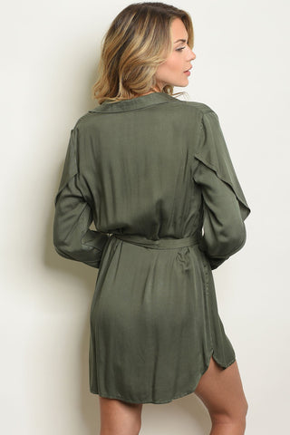 Image of Womens Olive Dress