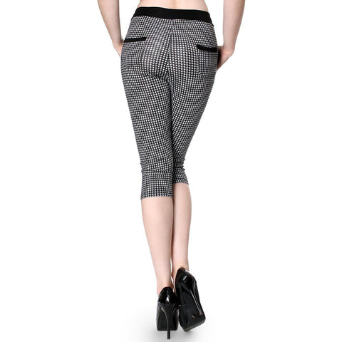Style Pattern Print Skinny Knee Length Leggings Stretchy Sexy Pencil Pocket Pant