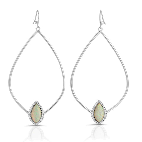 Image of Tempest Silver White Opal Earrings