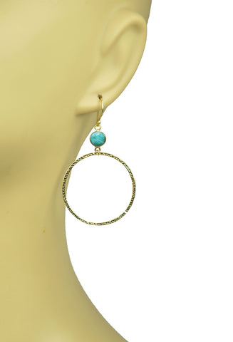 Image of Amazonite Bezel Circle Earrings