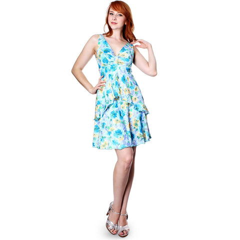 Evanese Women Floral Printed Casual Deep V Neck Short Tiered Cocktail Day Dress