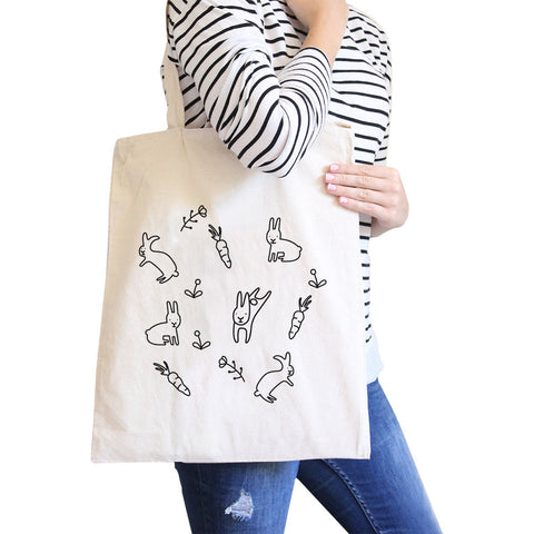 Image of Rabbit Pattern Natural Canvas Bags Cute Bunny Ester Gift Ideas