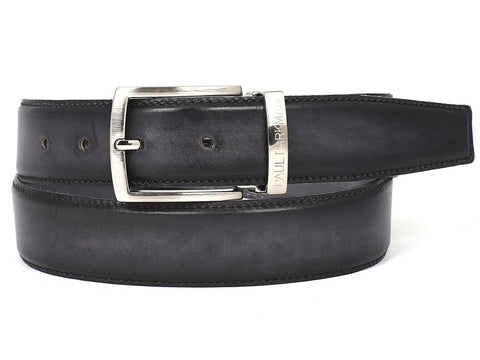Image of PAUL PARKMAN Men's Leather Belt Dual Tone Hand-Painted Gray & Black (ID#B01-GRY-BLK)