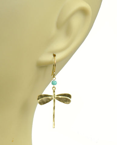 Image of Dragonfly Amazonite Earrings