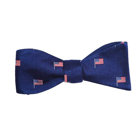 American Flag Bow Tie - Navy, Woven Silk