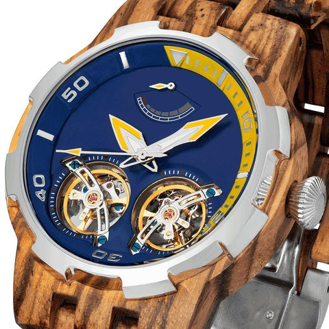 Image of Men's Dual Wheel Automatic Zebra Wood Watch - 2019 Most Popular