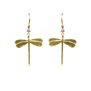 Dragonfly Amethyst Earrings