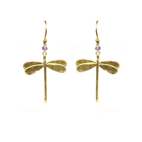 Image of Dragonfly Amethyst Earrings