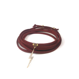 Lightning Bolt Burgundy Suede Wrap Bracelet