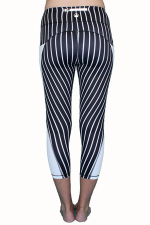 Vertical Stripe - Black and White - Pocket Tights