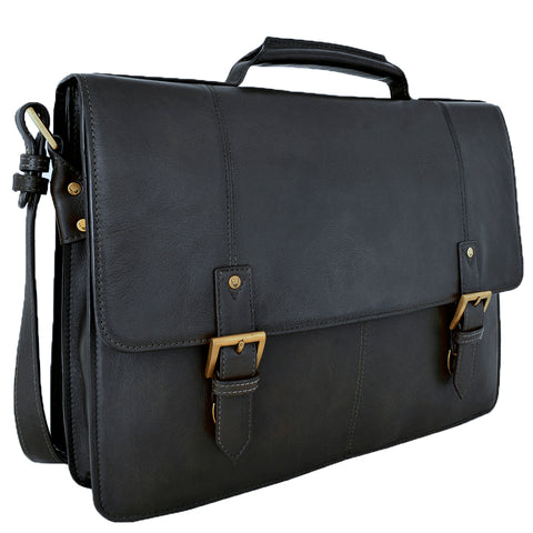 "Image of Hidesign Charles Large Double Gusset Leather 17"" Laptop Compatible Briefcase Work Bag"