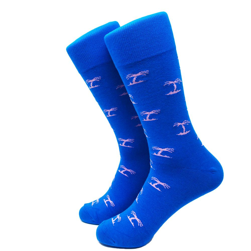 Palm Tree Socks - Men's Mid Calf - Blue