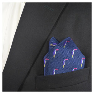 Toucan Pocket Square - Navy, Woven Silk