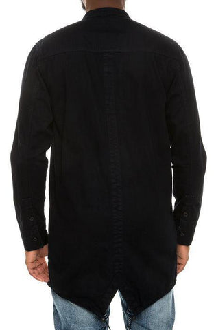 Image of High-Low Fishtail Monk Collar Button Down