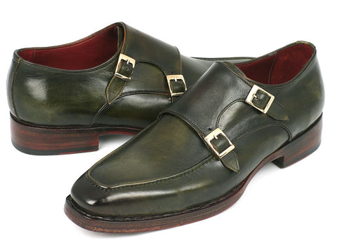 Image of Paul Parkman Men's Double Monkstrap Goodyear Welted Shoes Green (ID#061-GREEN)
