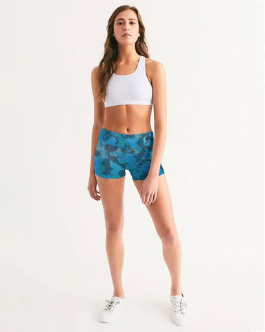 Image of Women's Active Comfort Ocean Camo Mid-Rise Yoga Shorts