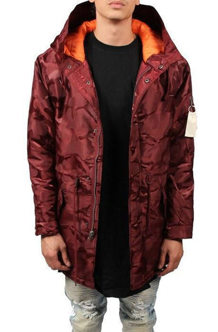 Image of Tonal Fatigue Fishtail Parka (Burgundy)